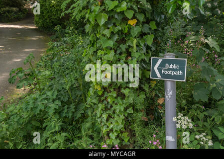 Public footpath sign near Truro, Cornwall. Stay on the right path, on the right path metaphor, walking signpost uk - Stock Photo