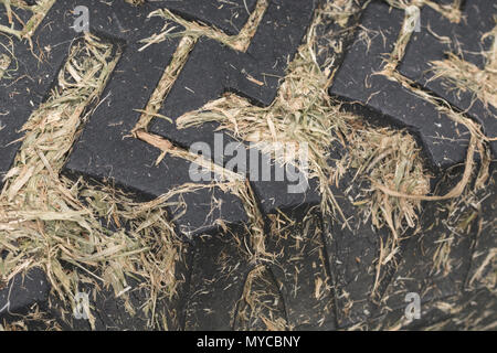 Small front tractor tyre with grass cuttings lodged between the tread grooves. - Stock Photo