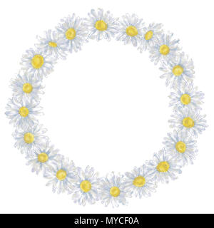 Daisy Wreath in Watercolor Isolated on White. Watercolor Floral Frame on white background. Perfect for Cards, Invitations, Flyer, Announcements, etc. - Stock Photo