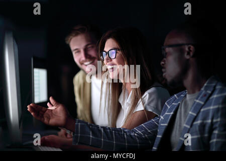 close up.friends discussing new information - Stock Photo
