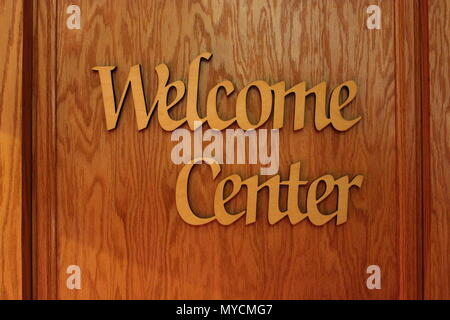 Welcome Center wood sign at Ebenezer Lutheran church in Chicago, Illinois. - Stock Photo