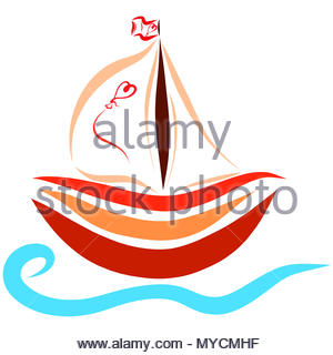 A small ship floating on the waves, romance - Stock Photo