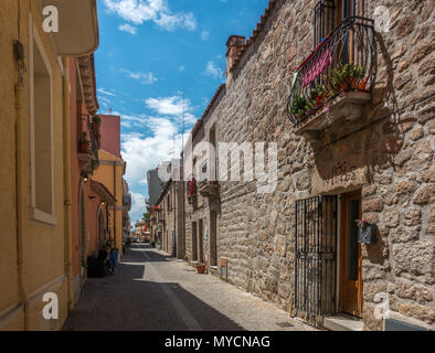 Streets of Olbia old town, Sardinia - Stock Photo