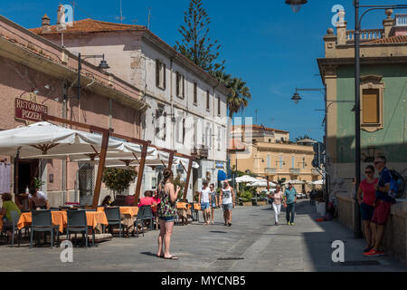 Main tourist street of Olbia old town with cafes and restaurants, Sardinia - Stock Photo