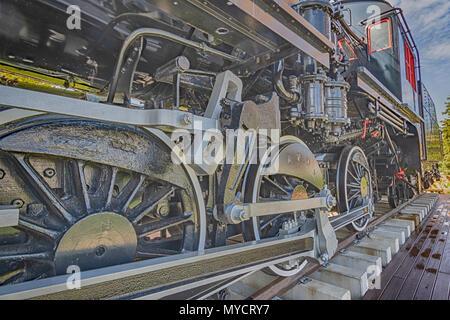 Old retro steam locomotive in Kingston, Ontario. - Stock Photo