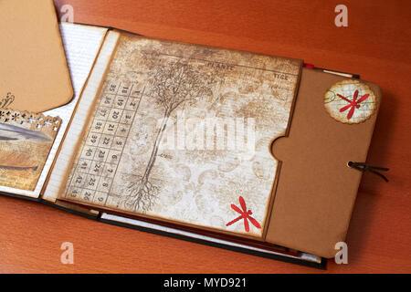 Scapbook empty album with textured paper - Stock Photo