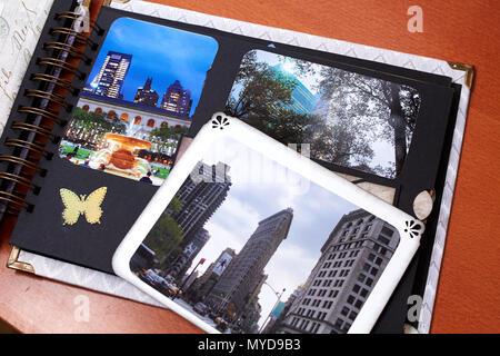 Scapbook new york album with textured paper - Stock Photo