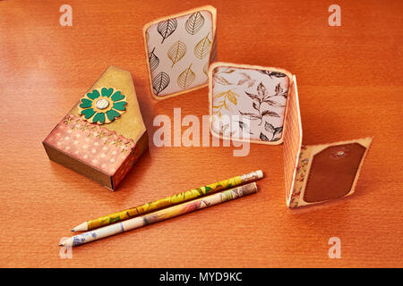 Scapbook empty album with textured cards - Stock Photo