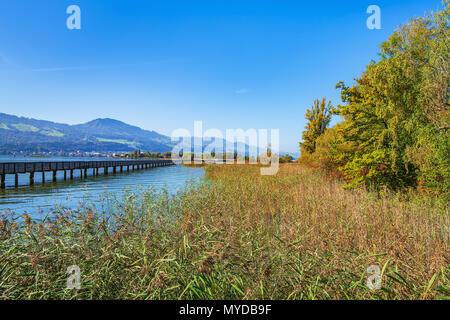Wooden pedestrian bridge over Lake Zurich between the town of Rapperswil and the village of Hurden - the longest wooden bridge in Switzerland. - Stock Photo