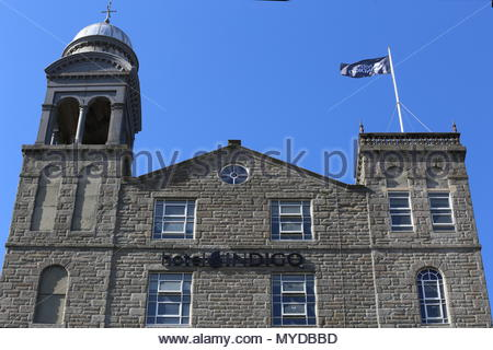 Former Baxter Brothers Mills being refurbished into Hotel Indigo with logo Dundee Scotland  June 2018 - Stock Photo