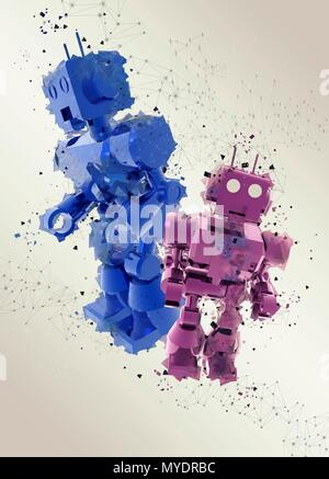 Pink and blue toy robots, illustration. - Stock Photo