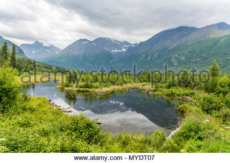 Alaska Reflected in the Eagle River - Stock Photo