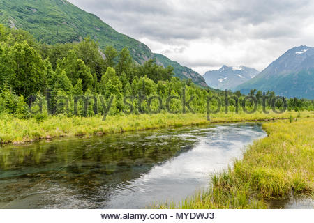 Chugach Reflections in the Alaska's Eagle River - Stock Photo