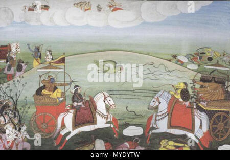 . English: What people don't recognise is that the story of Ram, what we call the Ram Katha, extends over a huge historical period.' Photo: Valmiki Ramayana, illustrated with Indian miniatures from the 16th to the 19th century, edited and published by Diana De Selliers . from the 16th to the 19th century. Unknown 179 Fight between Rama and Ravana - Stock Photo