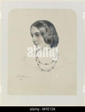 . English: Lithograph of Frances Jocelyn, Viscountess Jocelyn . 1849. Richard James Lane 185 Frances Jocelyn, Viscountess Jocelyn - Stock Photo