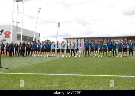 Madrid, Spain. 5th June, 2018. Spain team group (ESP) Football/Soccer : The Spanish national team is encouraged by the prime minister of Spain at the Ciudad Deportiva de Real Federacion Futbol Espanola in Madrid, Spain . Credit: AFLO/Alamy Live News - Stock Photo