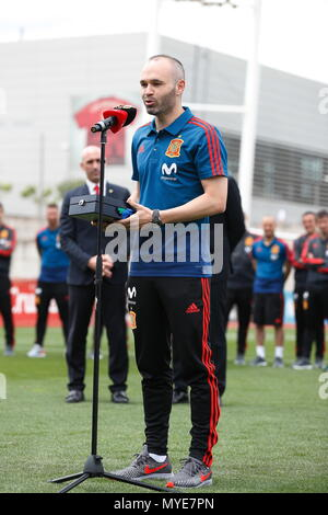 Madrid, Spain. 5th June, 2018. Andres Iniesta (ESP) Football/Soccer : Iniesta to greet at the encouragement party at the Ciudad Deportiva de Real Federacion Futbol Espanola in Madrid, Spain . Credit: AFLO/Alamy Live News - Stock Photo