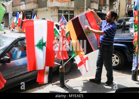 Beirut Lebanon. 7th June 2018. Street vendors in Beirut neighbourhoods display flags representing nations  that will be competing in the upcoming FIFA football World Cup in Russia even though Lebanon is not represented there is a growing sence of excitement before the start of the international tournament in Russia which begins on 14 June Credit: amer ghazzal/Alamy Live News - Stock Photo