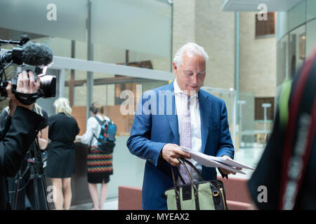 Stockholm, Sweden, June 7, 2018. Stockholm district court today sentenced Rakhmat Akilov to life imprisonment for terrorism attack on Drottninggatan, April 7, 2017. Akilov will be deported after having served his sentence. Defense Attorney Johan Eriksson reads the verdict.Alamy Live News - Stock Photo