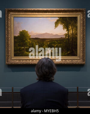 National Gallery, London, UK. 7 June, 2018. Thomas Cole: Eden to Empire. Tthe American wilderness is seen through the eyes of British-born Thomas Cole (1801–1848). Thomas Cole's work depicts nature at its most powerful and vulnerable. His paintings glory in the unique terrain of the American Northeast – largely still unspoiled in his time. Image: View on the Catskill - Early Autumn, 1836-37. Lent by The Metropolitan Museum of Art. Credit: Malcolm Park/Alamy Live News. - Stock Photo