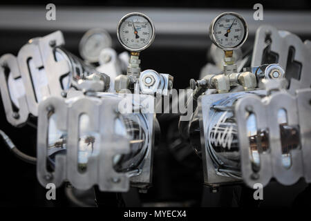 Florida, USA. 7th June, 2018. Detail of customized 1997 Isuzu pickup truck belonging to Ben Pellow of Palm Beach Gardens at the MG Productions Car Show at the Lake Worth Casino Building & Beach Complex Thursday, May 10, 2018. ''I put hydraulics in for each wheel, '' he said. ''I can do seesaws, pancakes, dump the left side or the right side. I put titanium plates under it, so I can drag and throw white sparks. Credit: Bruce R. Bennett/The Palm Beach Post/ZUMA Wire/Alamy Live News - Stock Photo