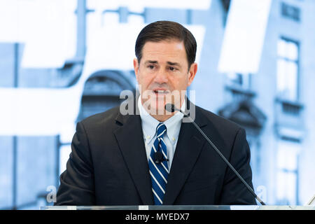 Washington, DC, USA. 7th June, 2018. Governor Doug Ducey (R-AZ) discussing the opioid crisis and foster care families and policies to protect children and treat parents at the American Enterprise Institute in Washington. Credit: Michael Brochstein/SOPA Images/ZUMA Wire/Alamy Live News - Stock Photo
