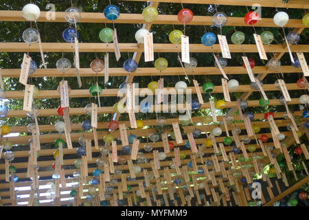 Colorful Japanese Wind Chimes in Kawagoe, Japan - Stock Photo