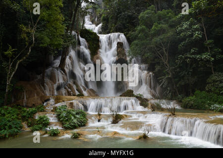 Landscape View of Kuang Si Waterfall in Laung Phra Bang, Laos - Stock Photo