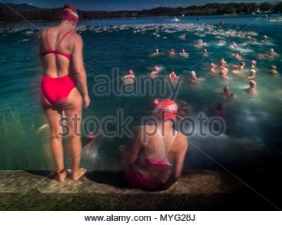 Swimmers at the annual Travessia de l'Estany competition. - Stock Photo