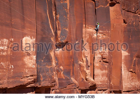 A male rock climber in colorful clothing ascends a crack climb known as Chasin skirt in midday. - Stock Photo