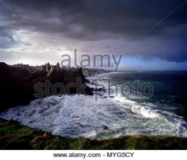 Ruins of Dunluce Castle on the north Antrim coast of Ireland. - Stock Photo