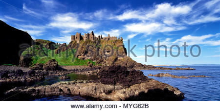 Ruins of Dunluce Castle on the north Antrim coast of Ireland. - Stock Photo