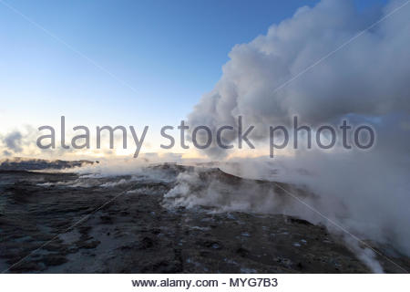 Steam vents of the Gunnuhver geothermal area. - Stock Photo