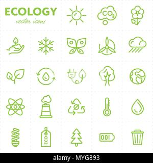 Colorful ecological icons in set - Stock Photo