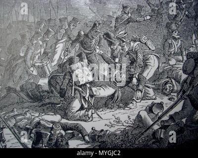 . English: Death of the general Gudin at the battle of Valutino (1812) Italiano: La morte del generale Gudin durante la battaglia di Valutino (19 agosto 1812) . 19th century. Henri Félix Emmanuel Philippoteaux 221 Gudin Valoutina - Stock Photo