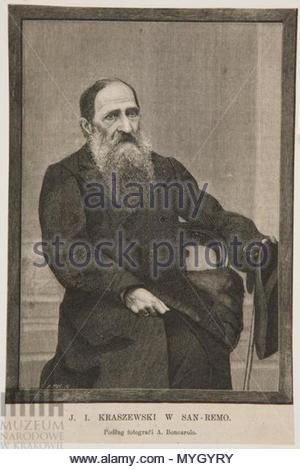 . Polski: J. I. Kraszewski w San Remo . circa 1890. Bronisław Puc 263 J. I. Kraszewski w San Remo - Stock Photo
