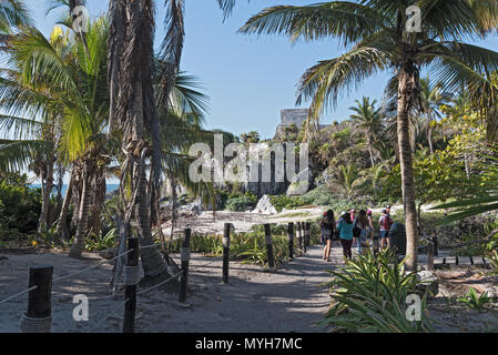 ruins of the mayan city tulum, quintana roo, mexico - Stock Photo