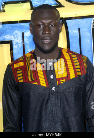 Feb 08, 2018 - Stormzy attending 'Black Panther' European Premiere at Hammersmith Apollo in London, England, UK - Stock Photo