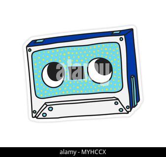 Compact Audio Cassette Musicassette music tape sticker vector il - Stock Photo