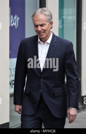 London, UK, 23rd February 2018: *Exclusive content *  Tony Blair Former British Prime Minister seen at the BBC studios in London - Stock Photo