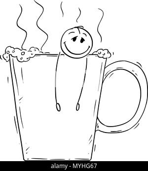 Cartoon of Relaxed Man or Businessman Taking a Bath in Big Cup of Coffee or Tea - Stock Photo