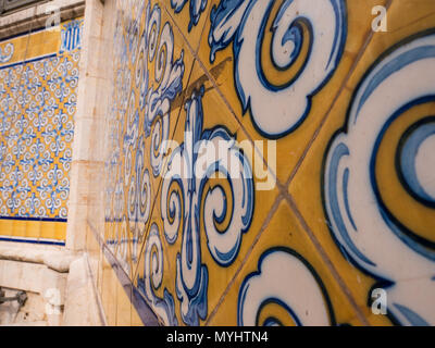 hand painted tiles posted on the outside of the general market in Valencia, Spain - Stock Photo
