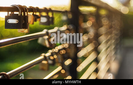 Padlock on a wire garden fence. - Stock Photo