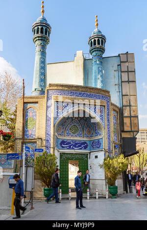 Tehran, Iran - March 18, 2018: Small mosque in center of city Tehran. Iran - Stock Photo