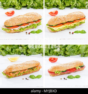 Sub sandwiches collage whole grain with ham cheese salami fish square on wooden board wood - Stock Photo