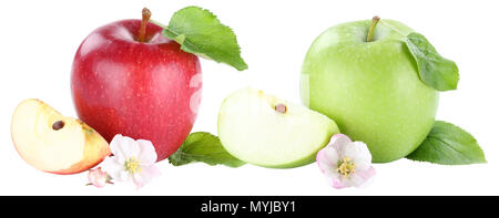 Apple fruit apples fruits red and green slice sliced blossom isolated on a white background - Stock Photo