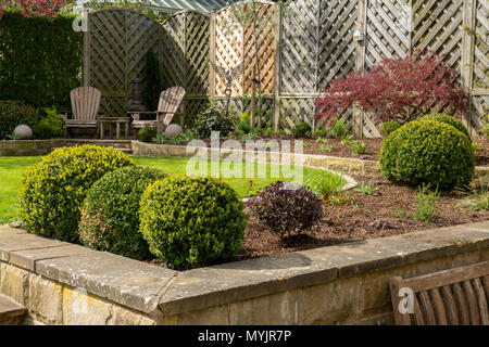 Corner of beautiful, landscaped, private garden with contemporary design, border plants, patio seating, box balls & lawn - Yorkshire, England, UK. - Stock Photo