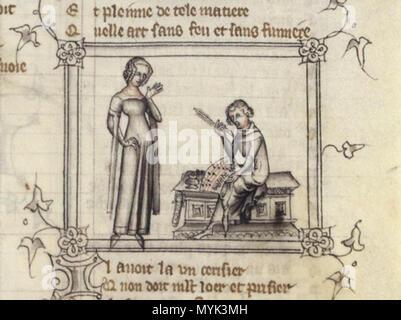 . Français: Machaut et le messager de sa dame . 14th century. Anonymous 336 Machaut - Stock Photo