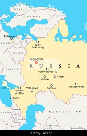 Russia 2018 Map Football Stadium Landmark Infographic Soccer Icon