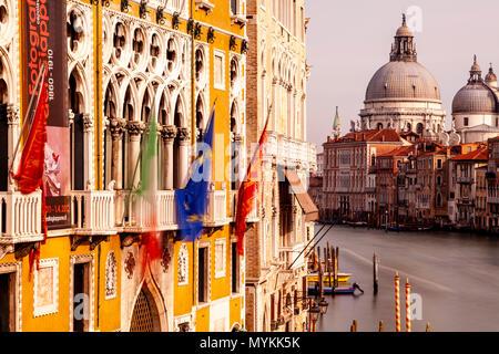 The View Down The Grand Canal Towards Santa Maria Della Salute Church From The Accademia Bridge, Venice, Italy - Stock Photo